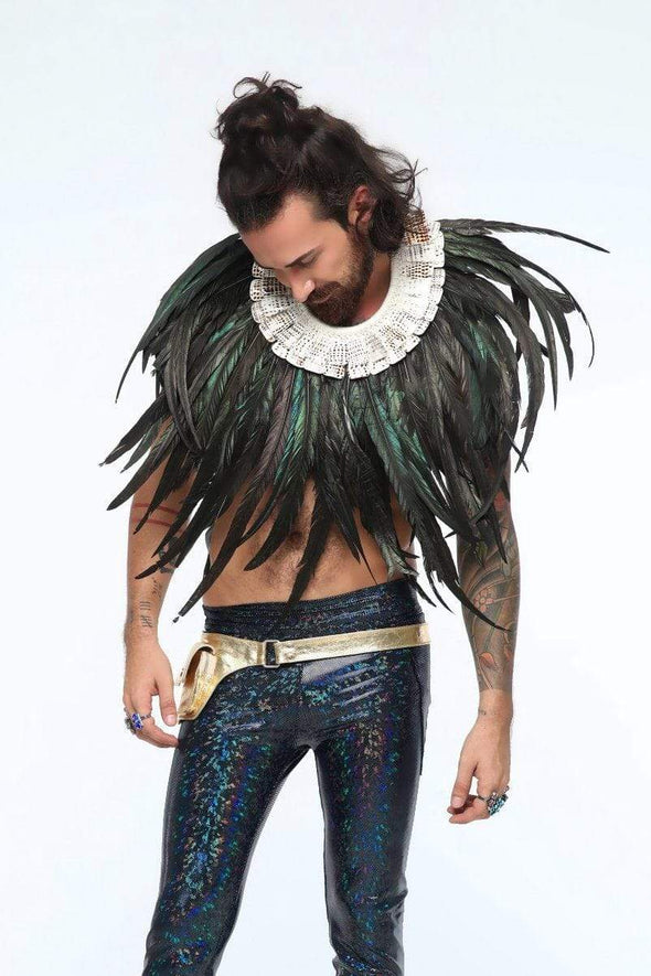 Mens Deluxe Iridescent-Black Extra-Long Feather Collar