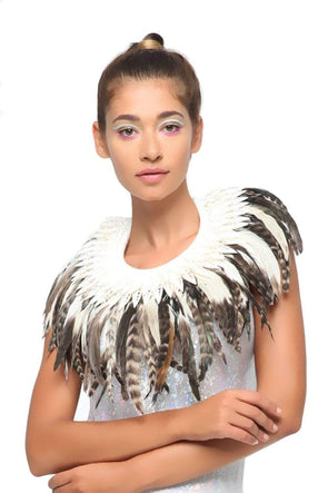 Earth Tone Feather Collar - Festival & Rave Clothing Accessories From Sea Dragon Studio