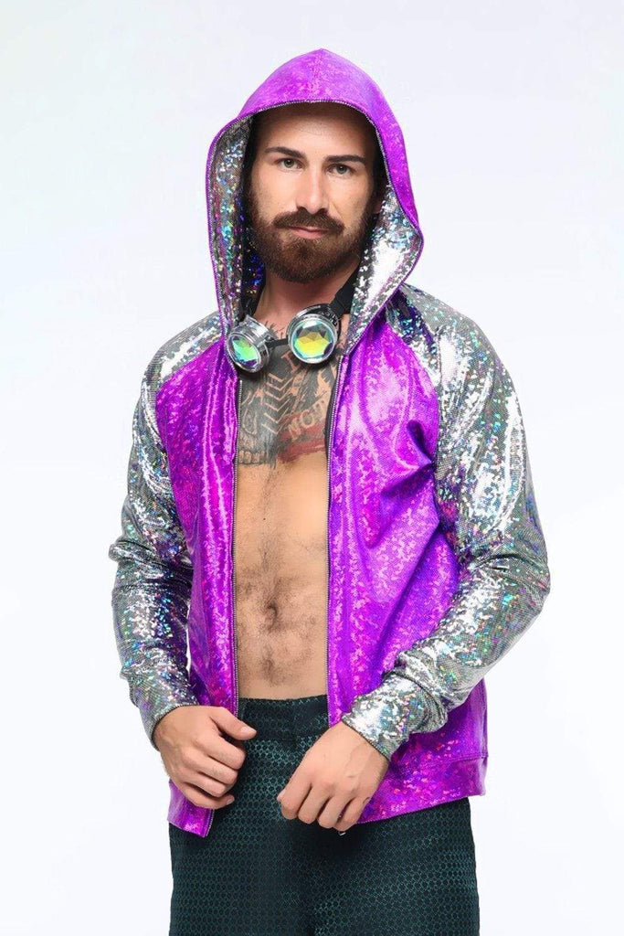 Mens Holographic Hoodie - Men's Tops From Sea Dragon Studio Festival & Rave Outfit Collection