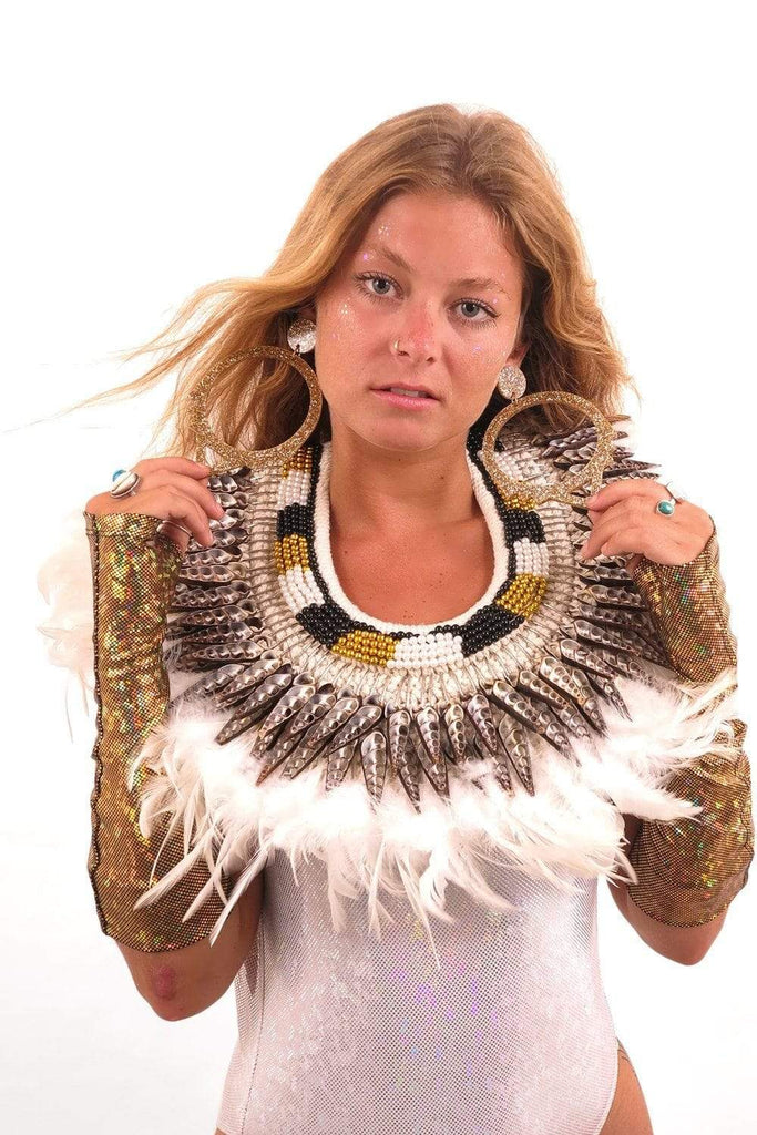 Bejeweled White Feather Collar Accessories Other SEA DRAGON STUDIO