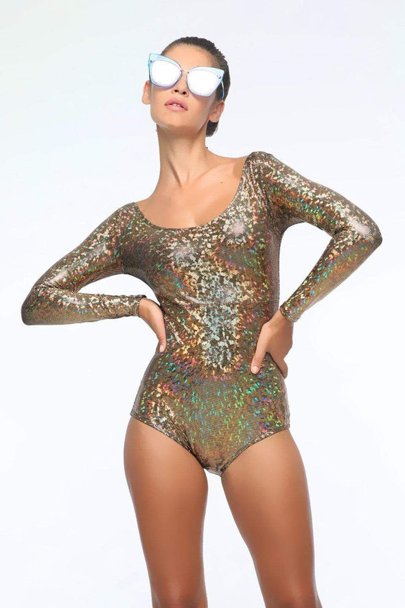 Holographic Long-Sleeve Bodysuit - Women's Bodysuits From Sea Dragon Studio Festival & Rave Outfit Collection