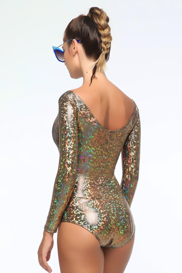 Holographic Long-Sleeve Bodysuit - Women's Bodysuits From Sea Dragon Studio Festival & Rave Outfits Collection