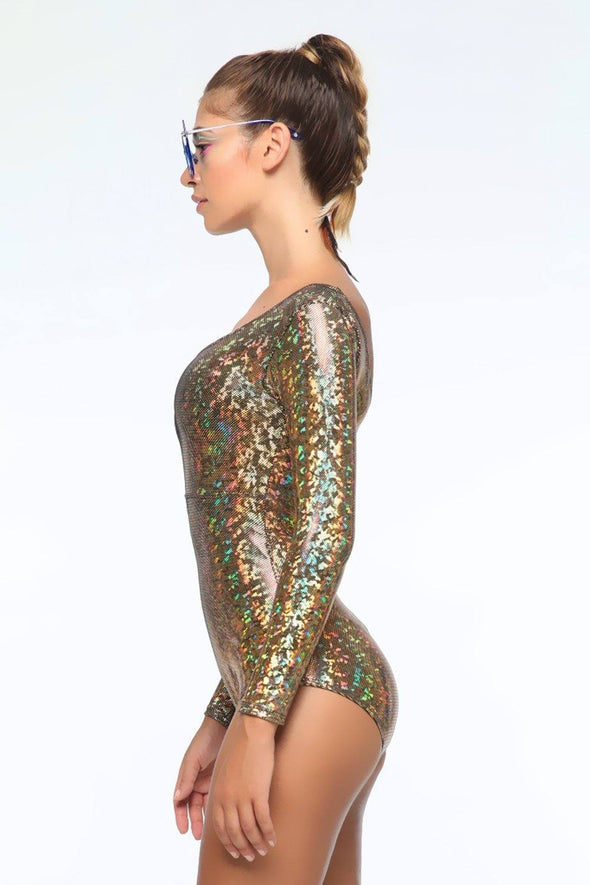 Holographic Long-Sleeve Bodysuit - Women's Bodysuits From Sea Dragon Studio Festival & Rave Gear Collection