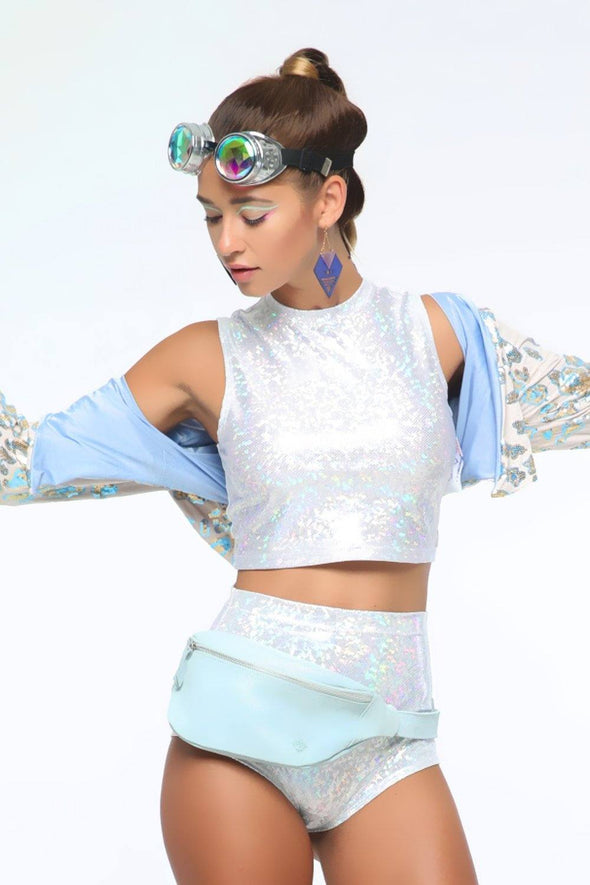 Holographic Roller Girl Crop Top | 13 Colors - Womens Tops
