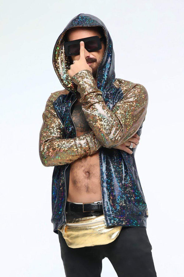 Mens Holographic Hoodie - Men's Tops From Sea Dragon Studio Festival & Rave Gear Collection