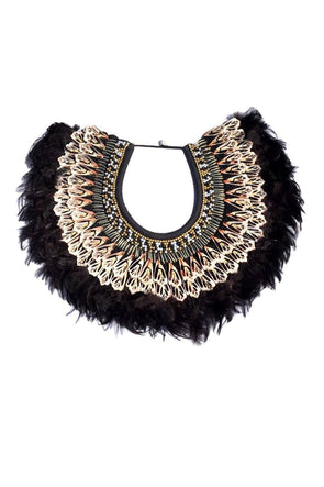 Bejeweled Black Feather Collar