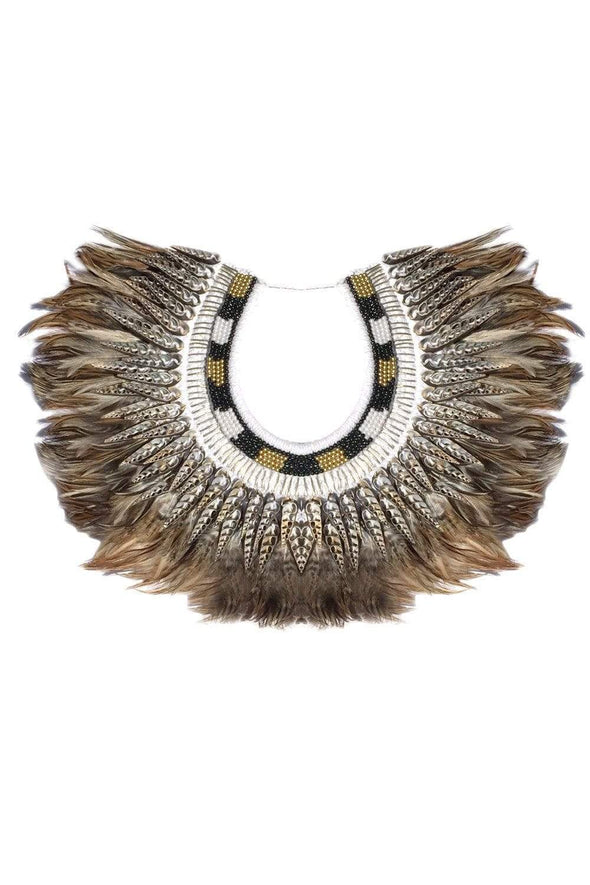 Bejeweled Natural Color Feather Collar