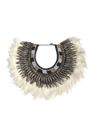 Bejeweled White Feather Collar