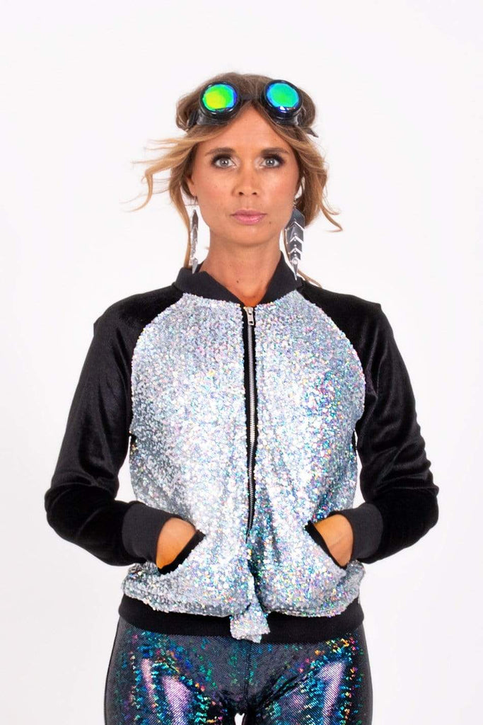 Holo Silver Sequin Bomber Jacket Womens Tops SEA DRAGON STUDIO