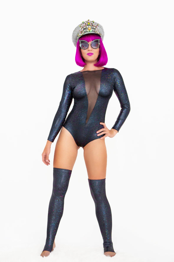 Holographic Mesh-Front Long Sleeve Bodysuit | 13 Colors