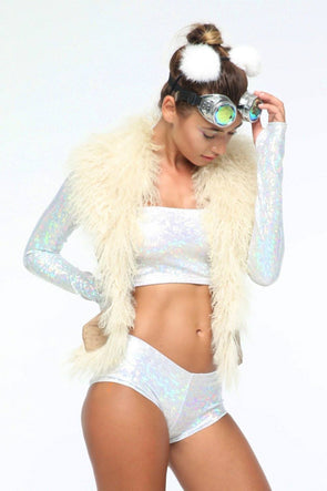 Holographic Booty Shorts - Women's Bottoms From Sea Dragon Studio Festival & Rave Clothing Collection
