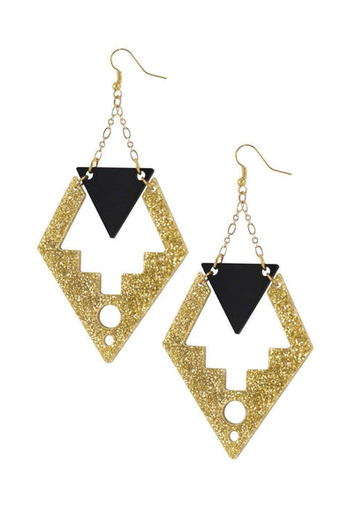 Deco Drop Earrings Gold Glitter & Black