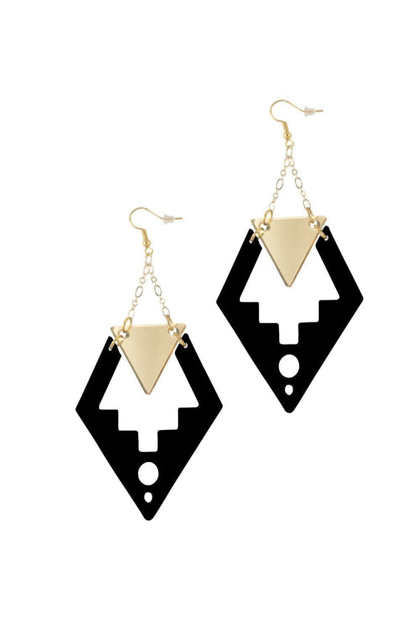 Deco Drop Earrings Black & Gold Mirror | Easy Tiger Designs