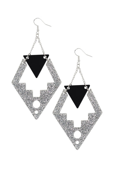 Deco Drop Earrings Silver Glitter & Black | Easy Tiger Designs
