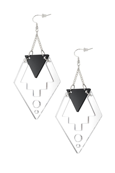 Deco Drop Earrings Silver Mirror & Black | Easy Tiger Designs