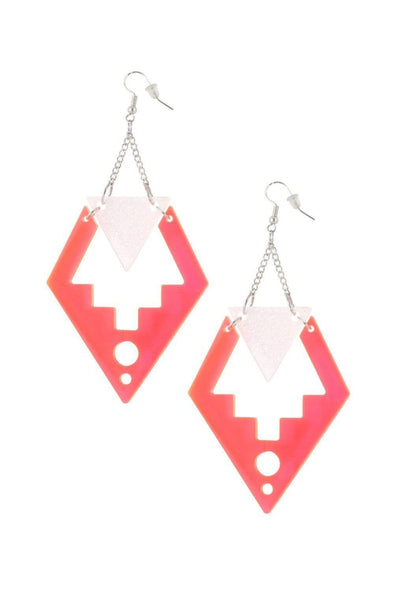 Deco Drop Earrings Neon Pink & Holo White Glitter | Easy Tiger Designs
