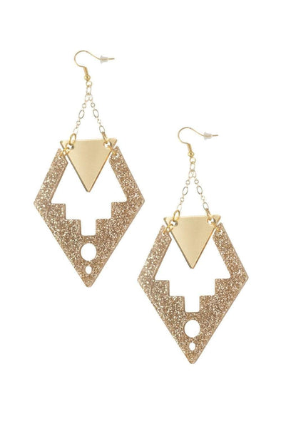 Deco Drop Earrings Gold Glitter | Easy Tiger Designs