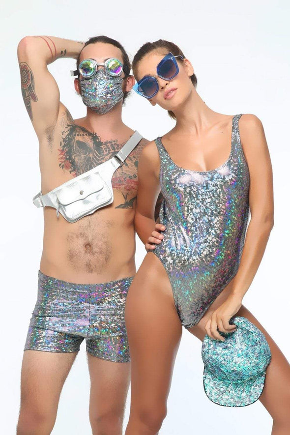 Holographic Retro Bodysuit - Women's Bodysuits From Sea Dragon Studio Festival & Rave Wear Collection