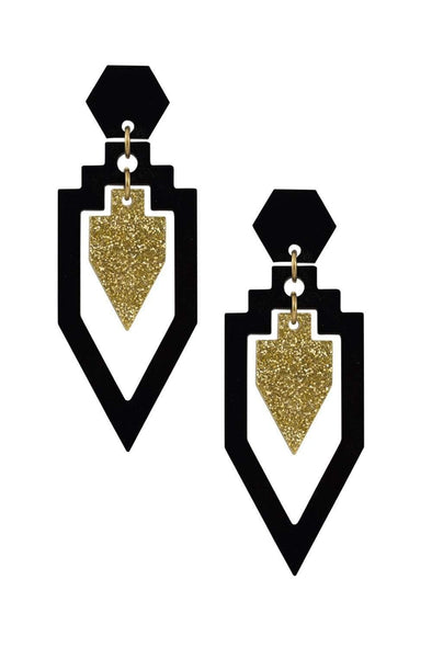 Grand Rex Deco Earrings Black & Gold Glitter | Easy Tiger Designs