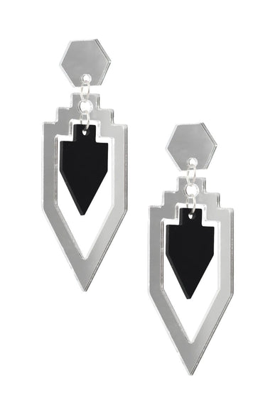Grand Rex Deco Earrings Silver Mirror & Black | Easy Tiger Designs