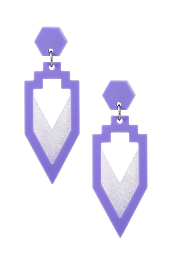 Grand Rex Deco Earrings Lavender & White Holo Glitter | Easy Tiger Designs