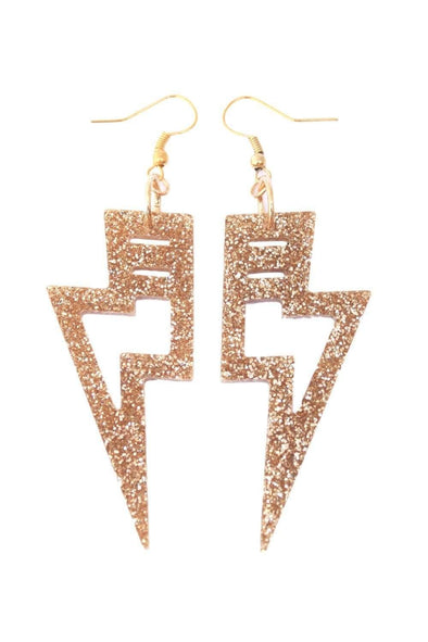Gold Glitter Lighting Bolt Earrings | Easy Tiger Designs