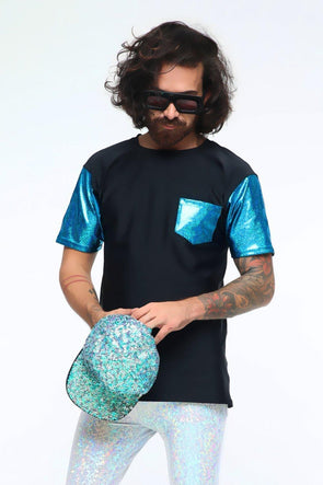 Mens Holographic Festival Tee | 4 Colors - Mens Tops