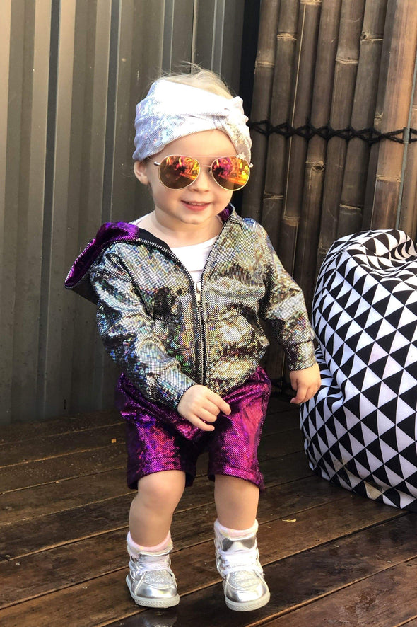 Kids Holographic Shorts - Kid's Bottoms From Sea Dragon Studio Festival & Rave Outfit Collection
