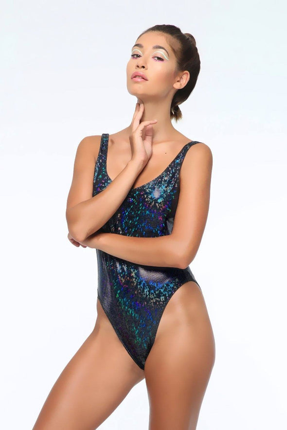 Holographic Retro Bodysuit - Women's Bodysuits From Sea Dragon Studio Festival & Rave Gear Collection