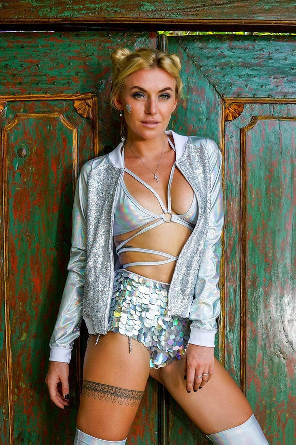 SILVER HOLOGRAPHIC SEQUIN SHORTS
