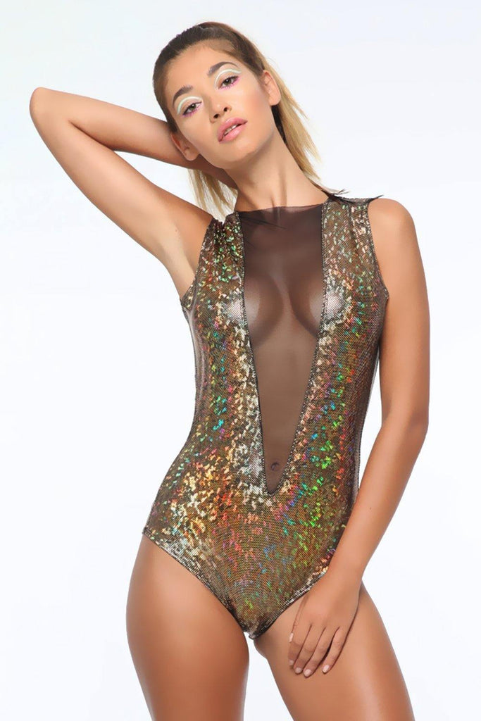 Holographic Mesh-Front Bodysuit - Women's Bodysuits From Sea Dragon Studio Festival & Rave Clothing Collection