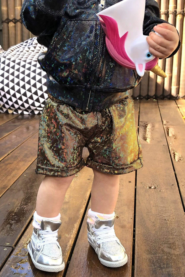 Kids Holographic Shorts - Kid's Bottoms From Sea Dragon Studio Festival & Rave Clothing Collection
