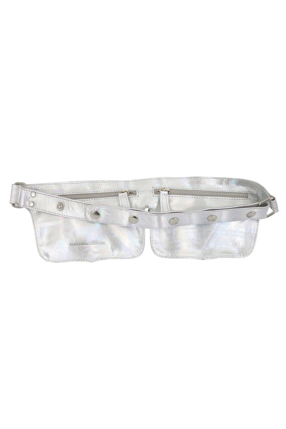 Holographic Double Pocket Leather Festival Belt