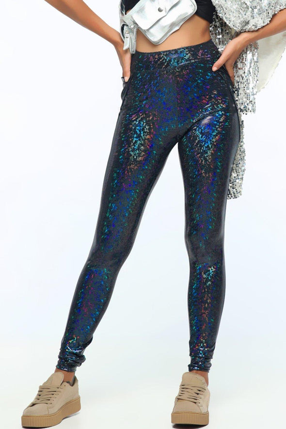 Holographic High-Waisted Leggings With Pockets - Women's Bottoms From Sea Dragon Studio Festival & Rave Clothing Collection