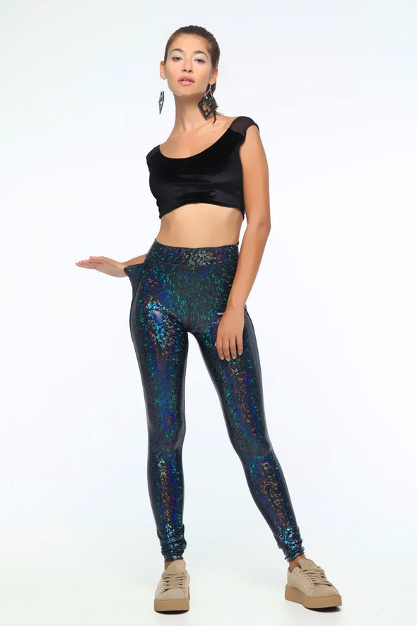 Holographic High-Waisted Leggings With Pockets - Women's Bottoms From Sea Dragon Studio Festival & Rave Outfit Collection