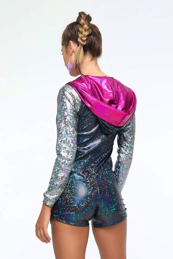 Holographic Zip-Front Playsuit | 13 Colors - Womens Jumpsuits