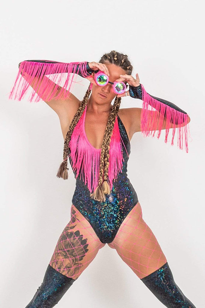 Neon Fringe Benefits Holographic Bodysuit | 13 Colors Womens Bodysuits SEA DRAGON STUDIO XSMALL Gold Rush
