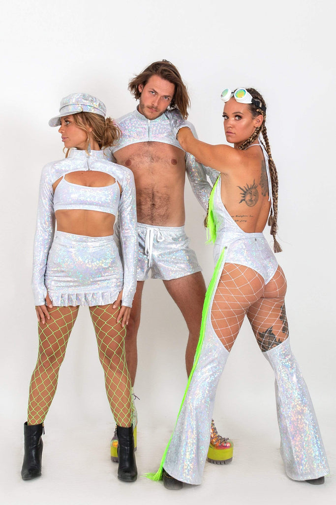 Neon Fringe Holographic Chaps | 13 Colors Womens Bottoms SEA DRAGON STUDIO