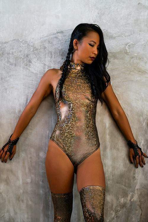 Holographic Veronica Bodysuit | 13 Colors Womens Bodysuits SEA DRAGON STUDIO XSMALL Gold Rush
