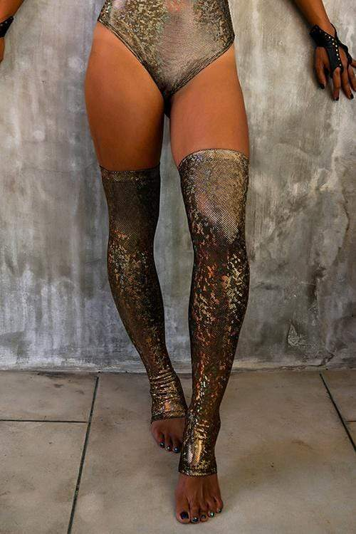 Holographic Over The Knee Socks - Women's Festival & Rave Clothing Accessories From Sea Dragon Studio