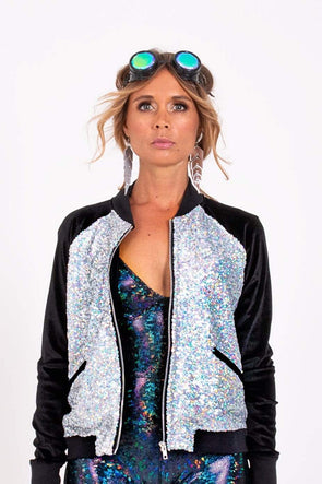 Holo Silver Sequin Bomber Jacket