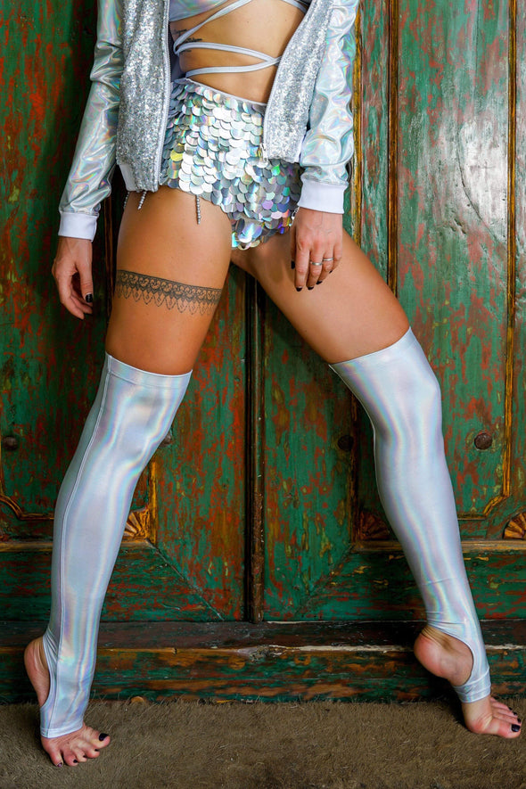 White Lightning Liquid Hologram Over The Knee Socks | 13 Colors