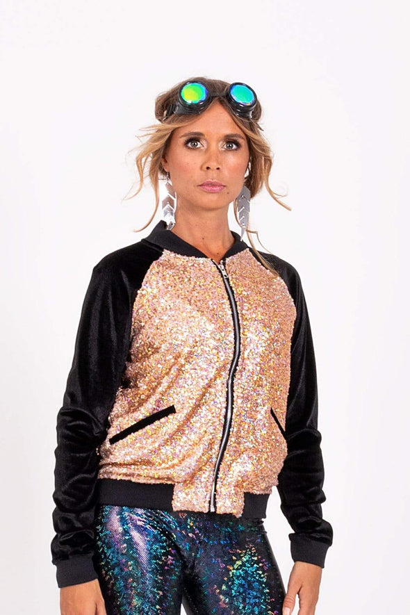 Holo Rose Gold Sequin Bomber Jacket