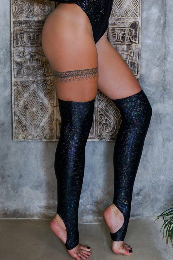 Holographic Over The Knee Socks - Women's Festival & Rave Outfit Accessories From Sea Dragon Studio