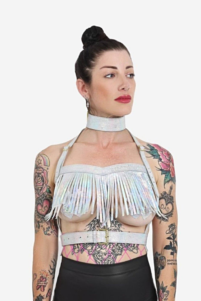 No Tassle Hassle Holographic Leather Harness Leather HOLOSEXUAL Small Hola Holo
