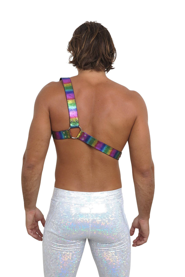 Mens Rainbow Leather One-Shoulder Harness