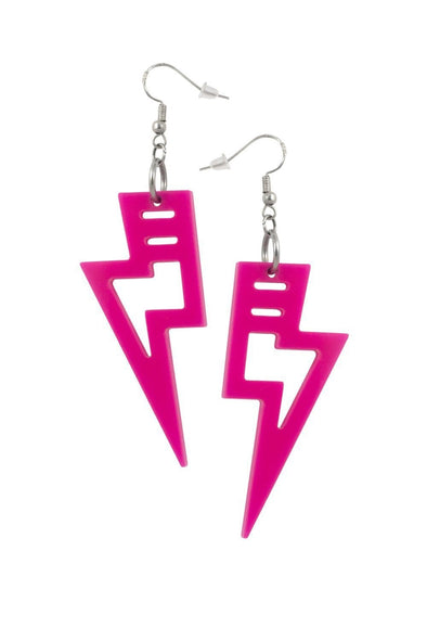 Hot Pink Lighting Bolt Earrings | Easy Tiger Designs