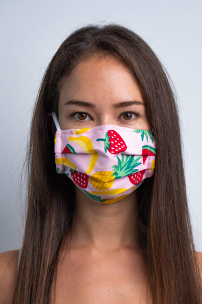Pink Fruitalicious 3ply Pleated Cotton Face Mask