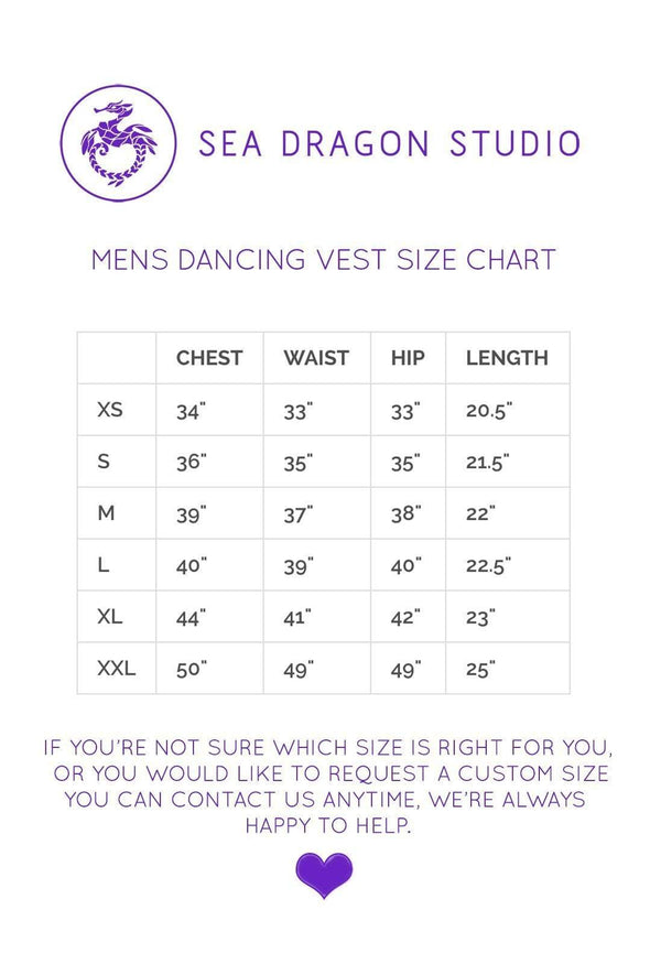 Mens Holographic Dancing Vest - Sizing Chart  From Sea Dragon Studio Festival & Rave Clothing Collection