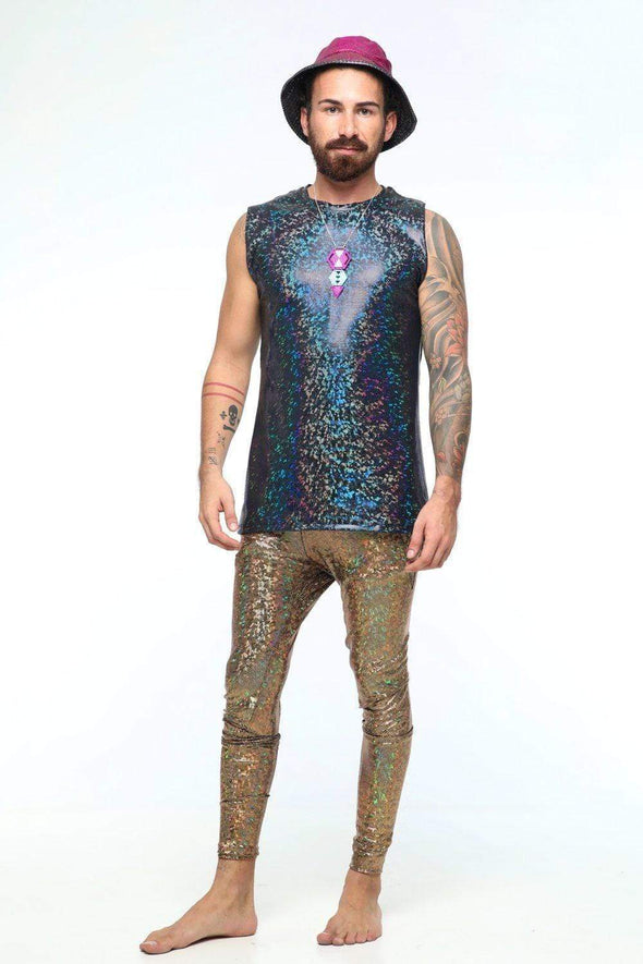 Holographic Meggings With Pockets - Mens Bottoms From Sea Dragon Studio Rave Outfit Collection